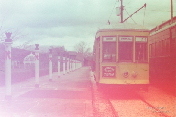 Trolley at the Chattanooga Choo Choo Hotel. Polly Nance. Film photograph. 2012
