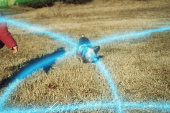 Lola at the Intersection of two Blue Beams of Light. Film photograph. Polly Nance. 2012.